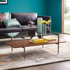 streamline coffee table west elm mid century art display round coffee table walnut west elm