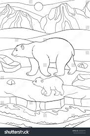coloring pages mother polar bear walks stock vector 469820444