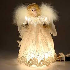 angel christmas tree topper 12in lit white lace and curly hair angel christmas tree topper