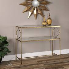 Iron Sofa Table by Uttermost 24539 Genell Gold Iron Console Table Homeclick Com
