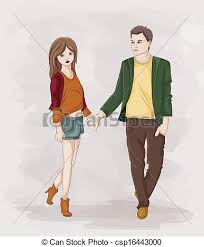 vector clipart of couple holding hands illustration of a stick