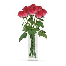 Vase With Roses 3d Model Red Roses In Glass Vase Cgtrader