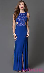 long side cutout blue prom dress promgirl