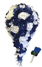 Royal Blue Boutonniere Amazon Com 2pc Set Cascade Bridal Bouquet U0026 Boutonniere W Bling