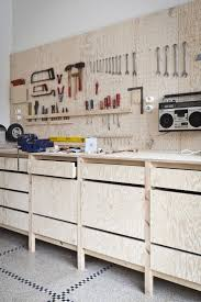 115 best workbench tools garage images on pinterest woodwork bench is off floor pegboard is a good idea i like the radio hanging