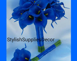 blue wedding bouquets royal blue bouquet etsy