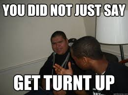 Turnt Meme - you did not just say get turnt up get turnt up quickmeme