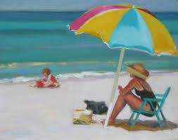 Beach Umbrella And Chair Beach Chairs On The Beach Painting