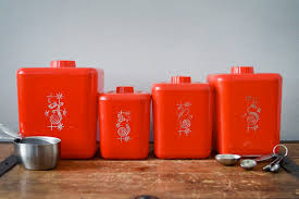 red canisters kitchen decor vintage kitchen canisters nesting canister set red kitchen