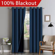 Blackout Navy Curtains Flamingop Blackout Navy Curtains Faux Silk Satin With Black
