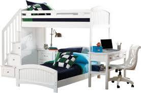 cottage colors white twin twin step loft with desk bunk loft