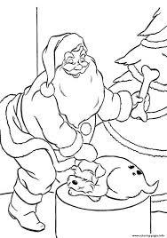 coloring pages santa claus puppys present54da coloring