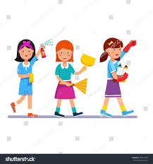 kids cleaning team doing household chores stock vector 505419100