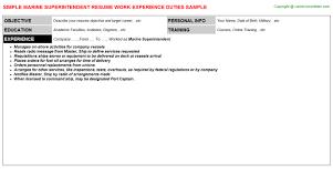 Manufacturing Supervisor Resume Marine Superintendent Resume Sample