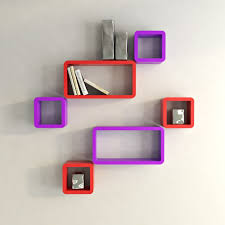 display wall racks storage wall shelves purple and black