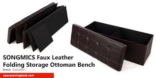 Folding Storage Ottoman Cool Finds Faux Leather Folding Storage Ottoman Bench By Songmics