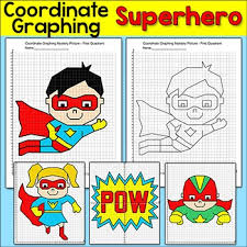 coordinate graphing superhero mystery pictures first quadrant