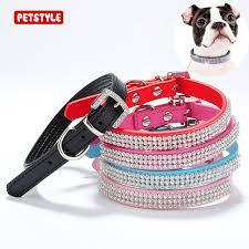 aliexpress buy bling rhinestone collars pet pu leather
