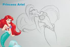 how to draw ariel the little mermaid speed drawing