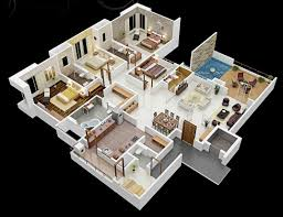 4 room house 50 three 3 bedroom apartment house plans open floor 3d and