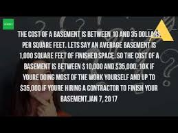 digging basement cost how much does it cost to build a basement per square foot youtube