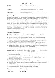 Catering Job Description For Resume Front Of House Resume Resume For Your Job Application