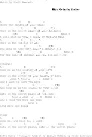 hide me in the shelter christian gospel song lyrics and chords