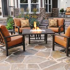 Patio Furniture Conversation Sets Clearance by Homecrest Midtown 5 Piece Cast Aluminum Fire Pit Conversation Set