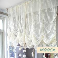 Pull Up Curtains Ivory White Ruffled Lace Curtain Pull Up Decoration Curtain For