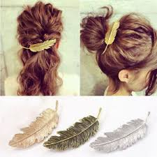 hair barrette women gold silver leaf feather hair clip hairpin barrette bobby