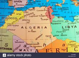 Algeria On Map A Map Of Algeria And North Africa On A Globe Stock Photo Royalty