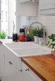 IKEA Kitchen With Stat Cabinets Domsjo Single Bowl Sink And Oak - Apron kitchen sink ikea