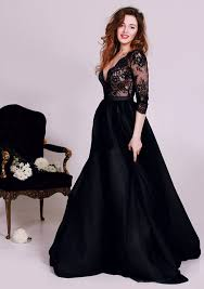 black deep v neck lace formal occasion dress gorgeous a line 3 4