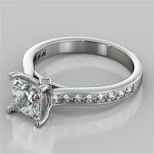 channel set engagement rings princess cut channel set cathedral style engagement ring