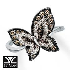 kay jewelers class rings kay levian chocolate diamonds 5 8 ct tw butterfly ring 14k gold
