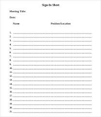 Sign Sheet Template Meeting Sign In Sheet Template