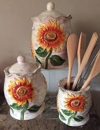 sunflower canisters for kitchen s sunflower canister set kitchen accessories sold