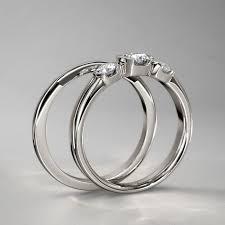 three ring wedding set bezel three wedding set in 14k white gold
