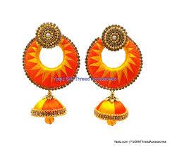 jhumka earrings uk yaalz zigzag chand bali jhumka earring in orange and yellow colors