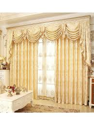 Yellow And Blue Curtains Baltic Jacquard Yellow Blue Coffee Color Floral Waterfall And Swag
