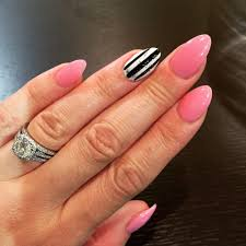 full set of stiletto acrylic nails with gel polish all done by