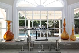 Modern Bay Window Curtains Decorating Dashing Modern Bay Window Charming Wide Glass And Grey Marble Top
