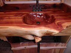 Log Vanity Handcrafted Handcarved Cedar Log Bathroom Vanity 2 300 00 Via