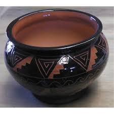 beautiful artist made indian design pot incised black w