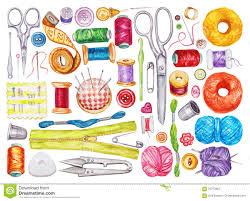 big set of various watercolor sewing tools sewing kit stock