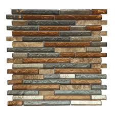 AL Glass Tile And Stone Rustic Slate Mosaic Backsplash - Linear tile backsplash