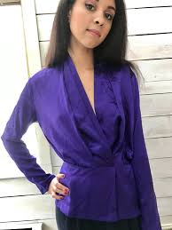 purple silk blouse purple silk blouse bob mackie 80s peplum waist medium size 10