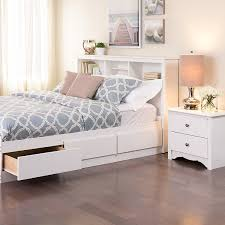 White And Wood Bedroom Furniture Amazon Com White Full Queen Bookcase Headboard Bedroom Armoires