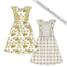 cute summer dress with a frilly top and gathered skirt puffed