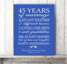 45th wedding anniversary 45th anniversary gift parents sapphire blue personalized 45th